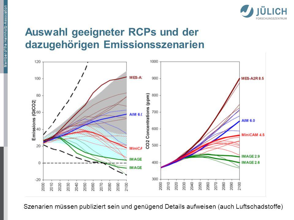 Auswahl geeigneter RCPs und der dazugehörigen Emissionsszenarien
