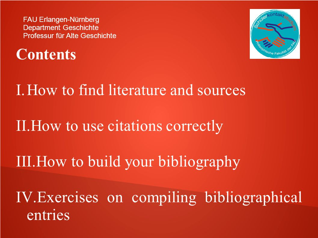 How to find literature and sources How to use citations correctly