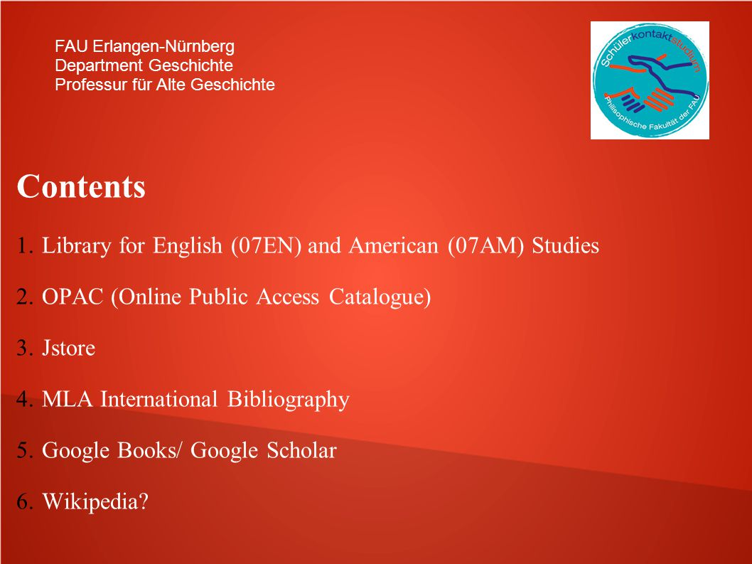 Contents Library for English (07EN) and American (07AM) Studies