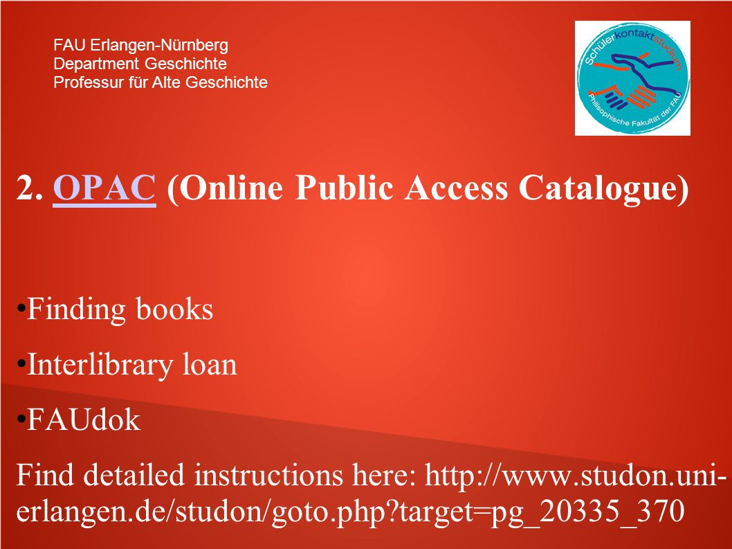 2. OPAC (Online Public Access Catalogue)
