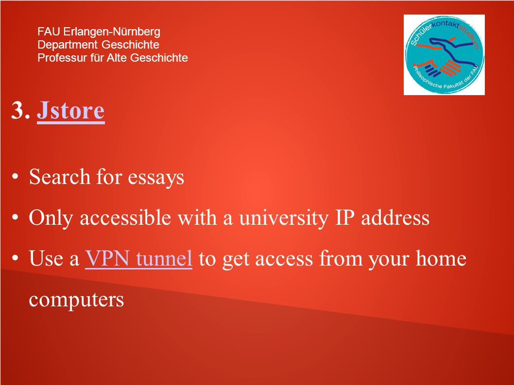3. Jstore Search for essays