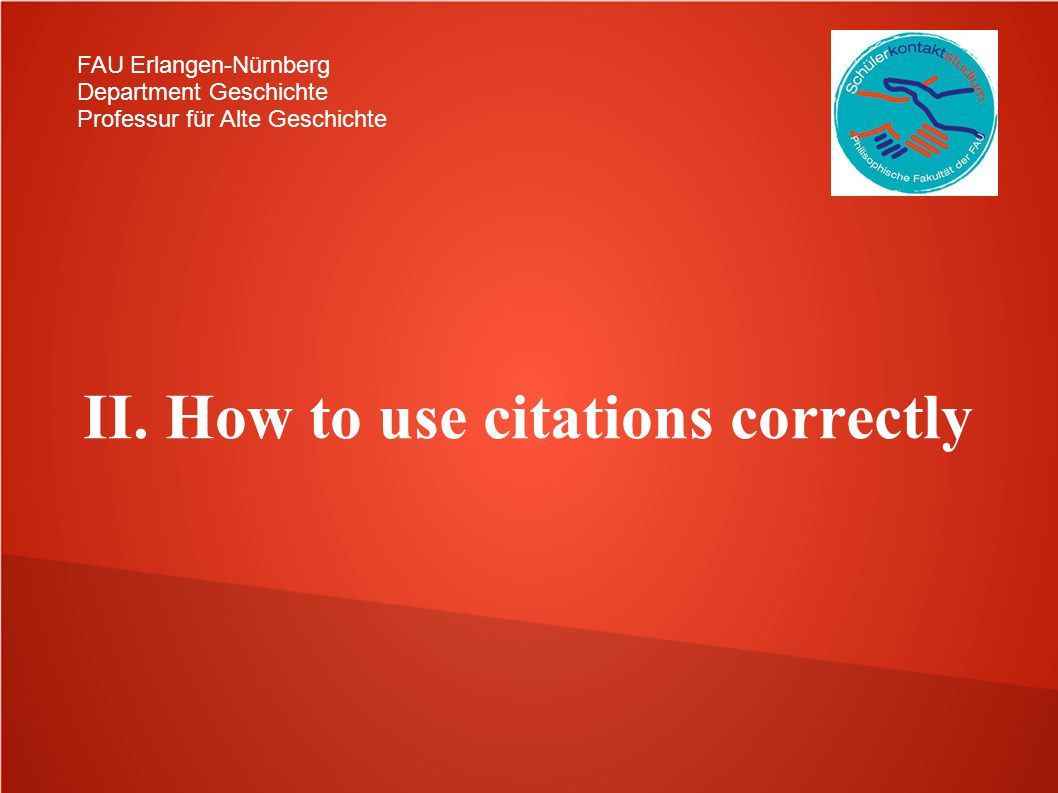 II. How to use citations correctly