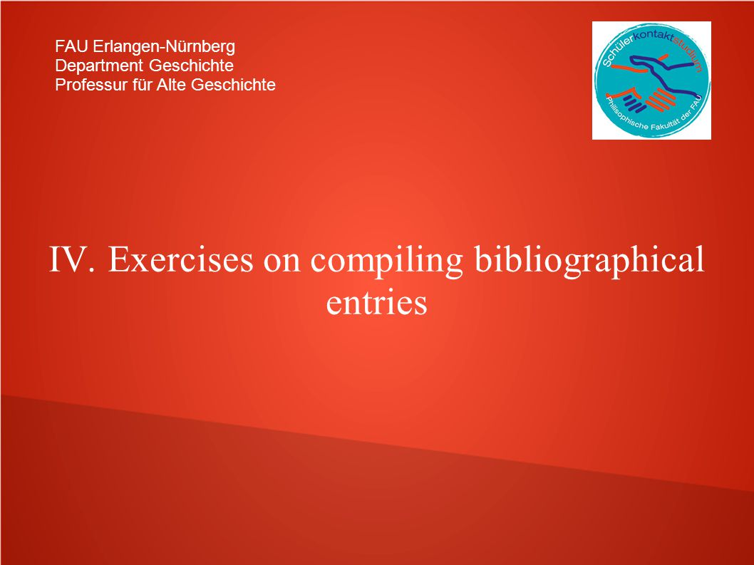 IV. Exercises on compiling bibliographical entries