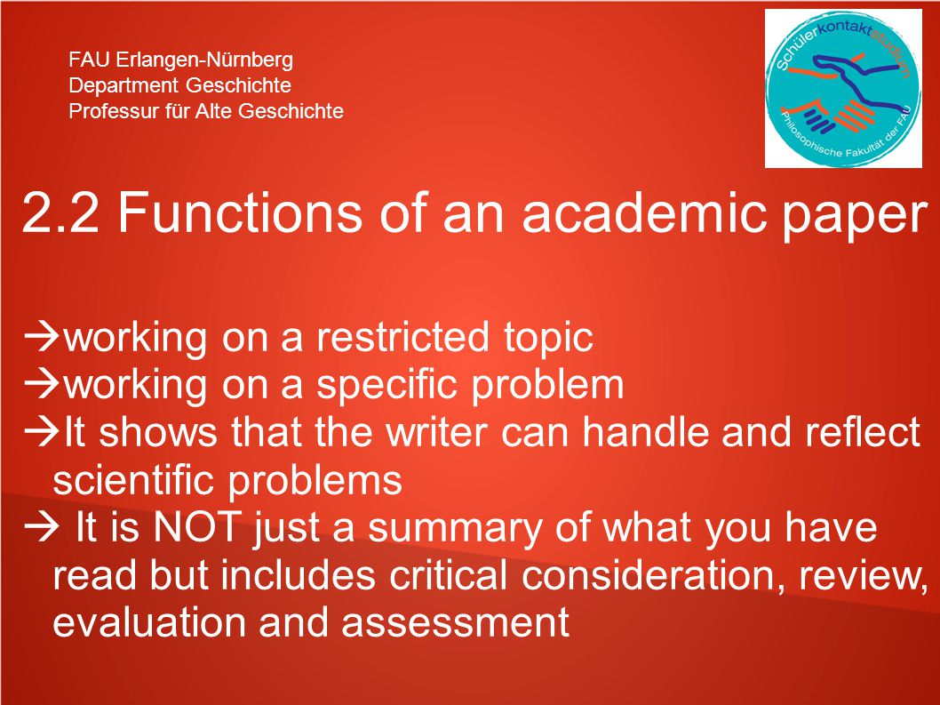 2.2 Functions of an academic paper