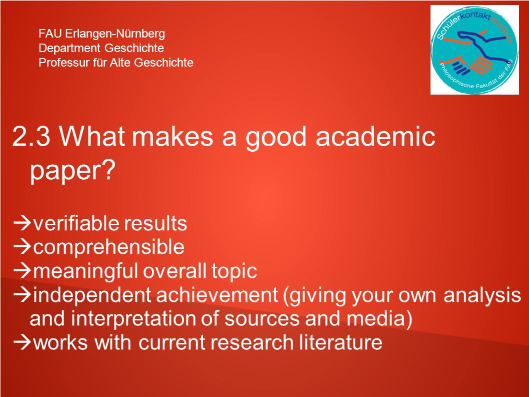 2.3 What makes a good academic paper