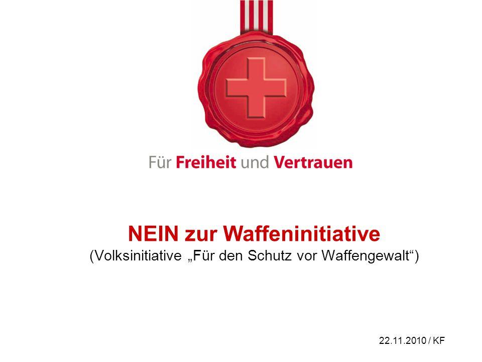 """NEIN zur Waffeninitiative (Volksinitiative """"Für den Schutz vor Waffengewalt )"""