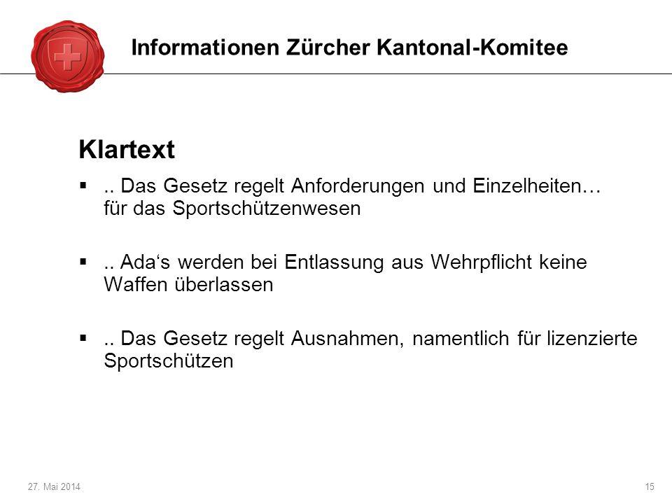 Klartext Informationen Zürcher Kantonal-Komitee