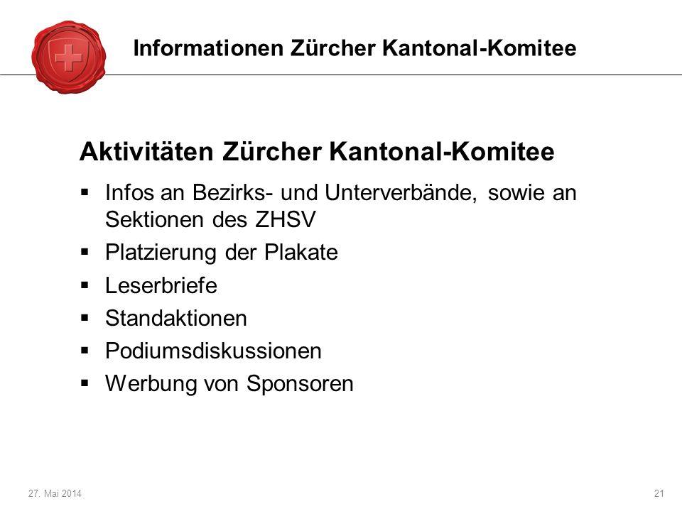 Aktivitäten Zürcher Kantonal-Komitee