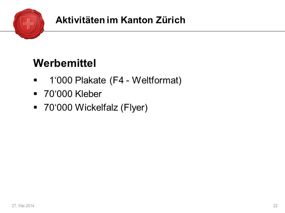 Werbemittel Aktivitäten im Kanton Zürich