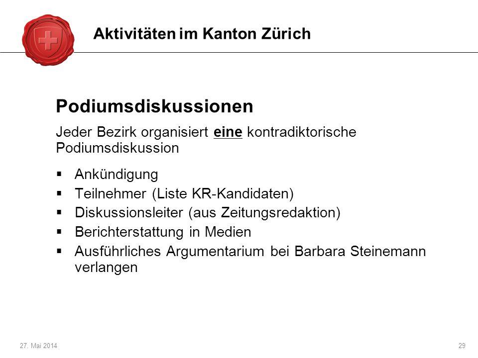 Podiumsdiskussionen Aktivitäten im Kanton Zürich