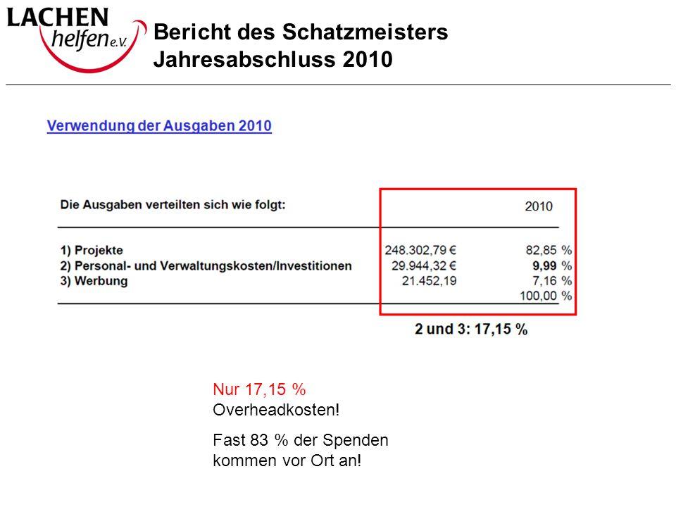 Bericht des Schatzmeisters Jahresabschluss 2010