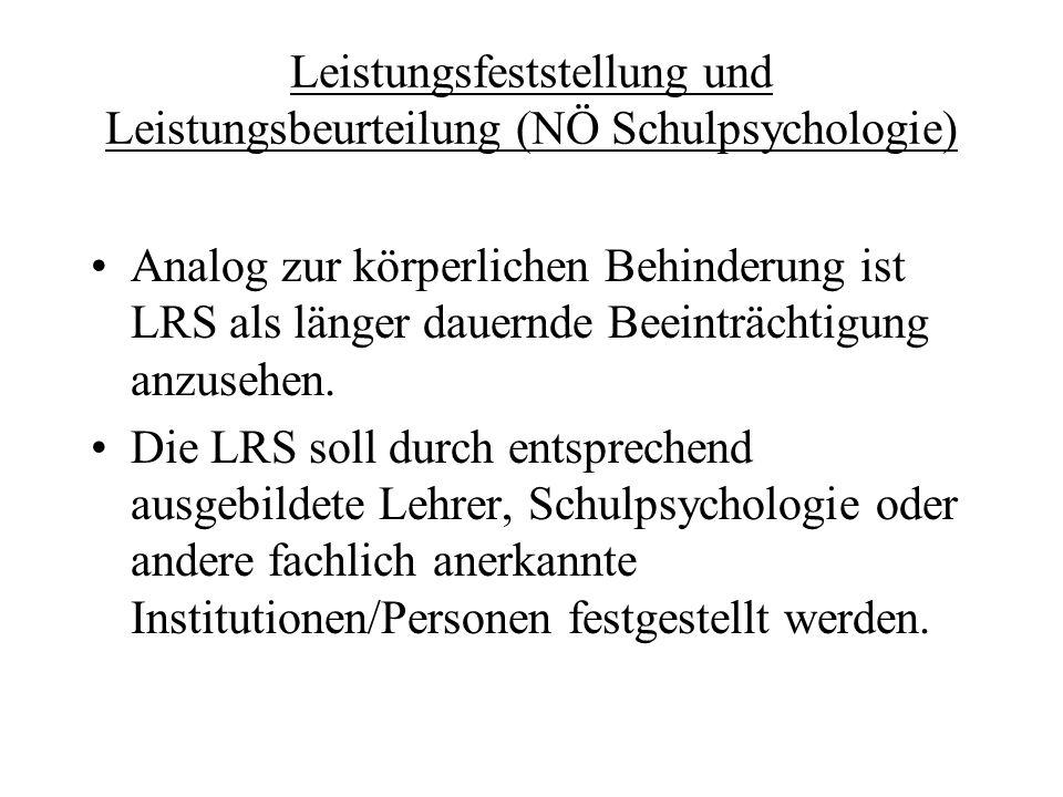 Leistungsfeststellung und Leistungsbeurteilung (NÖ Schulpsychologie)