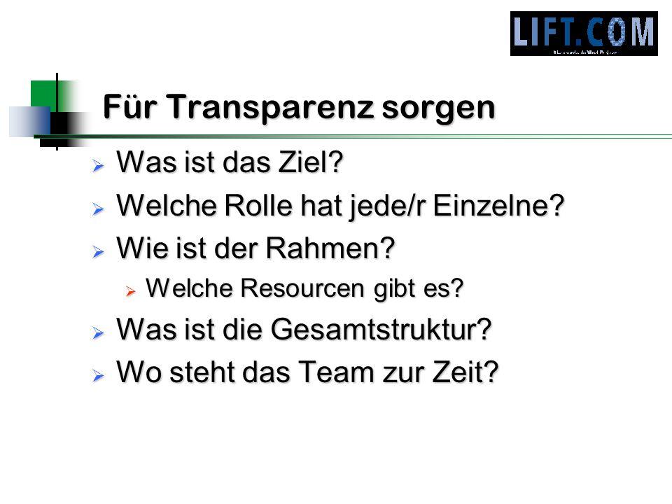 Für Transparenz sorgen