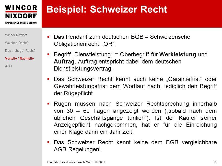 Beispiel: Schweizer Recht