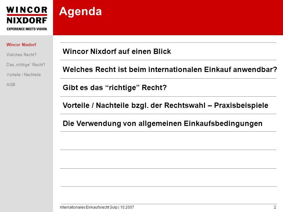 Agenda Wincor Nixdorf auf einen Blick