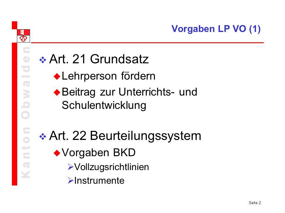 Art. 22 Beurteilungssystem