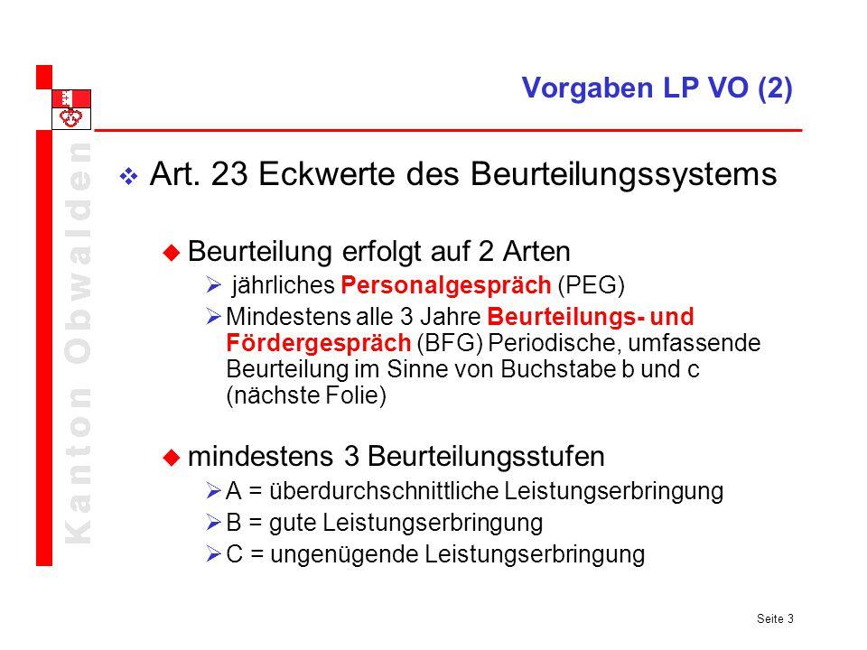 Art. 23 Eckwerte des Beurteilungssystems