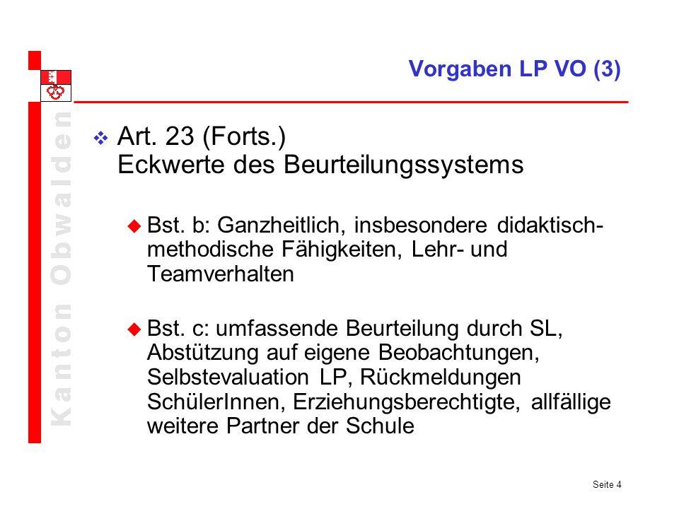 Art. 23 (Forts.) Eckwerte des Beurteilungssystems