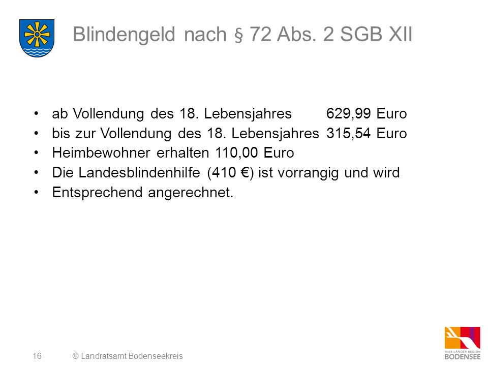 Blindengeld nach § 72 Abs. 2 SGB XII