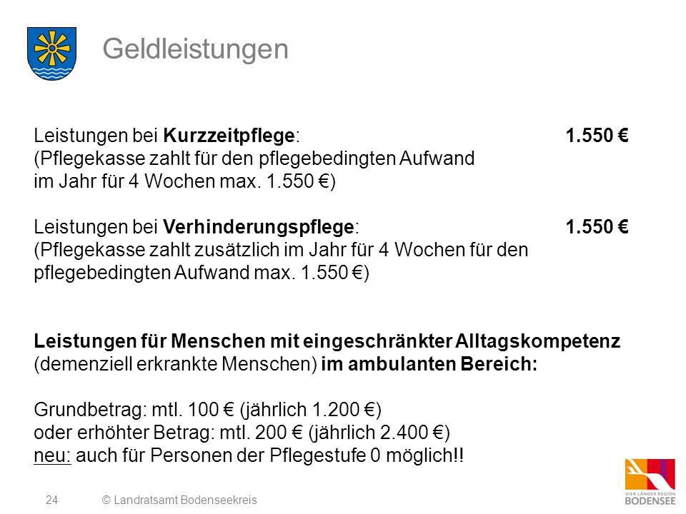 Geldleistungen Leistungen bei Kurzzeitpflege: 1.550 €