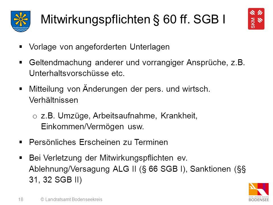 Mitwirkungspflichten § 60 ff. SGB I