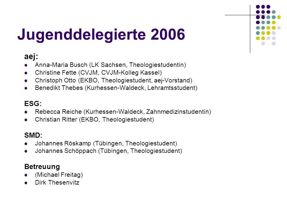 Jugenddelegierte 2006 aej: ESG: SMD: Betreuung