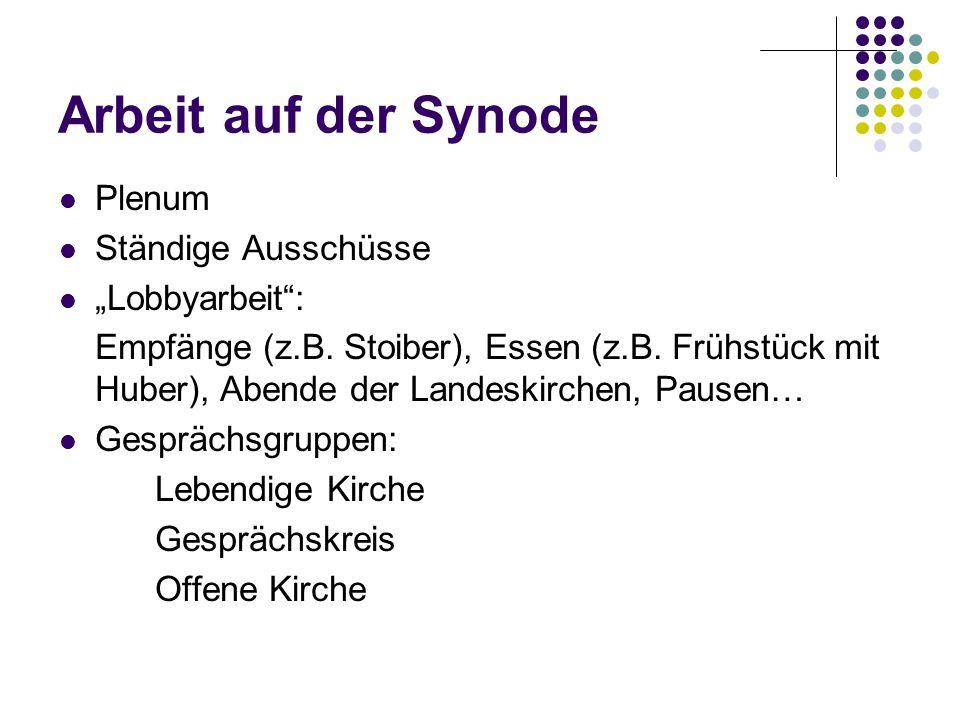 """Arbeit auf der Synode Plenum Ständige Ausschüsse """"Lobbyarbeit :"""