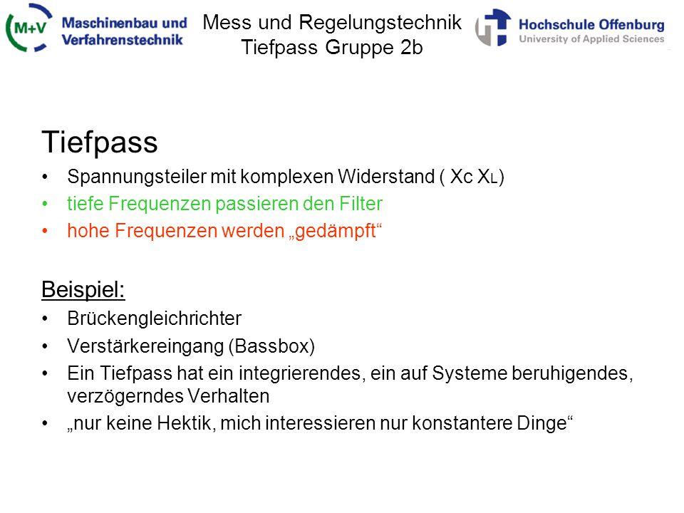 Tiefpass Beispiel: Spannungsteiler mit komplexen Widerstand ( Xc XL)
