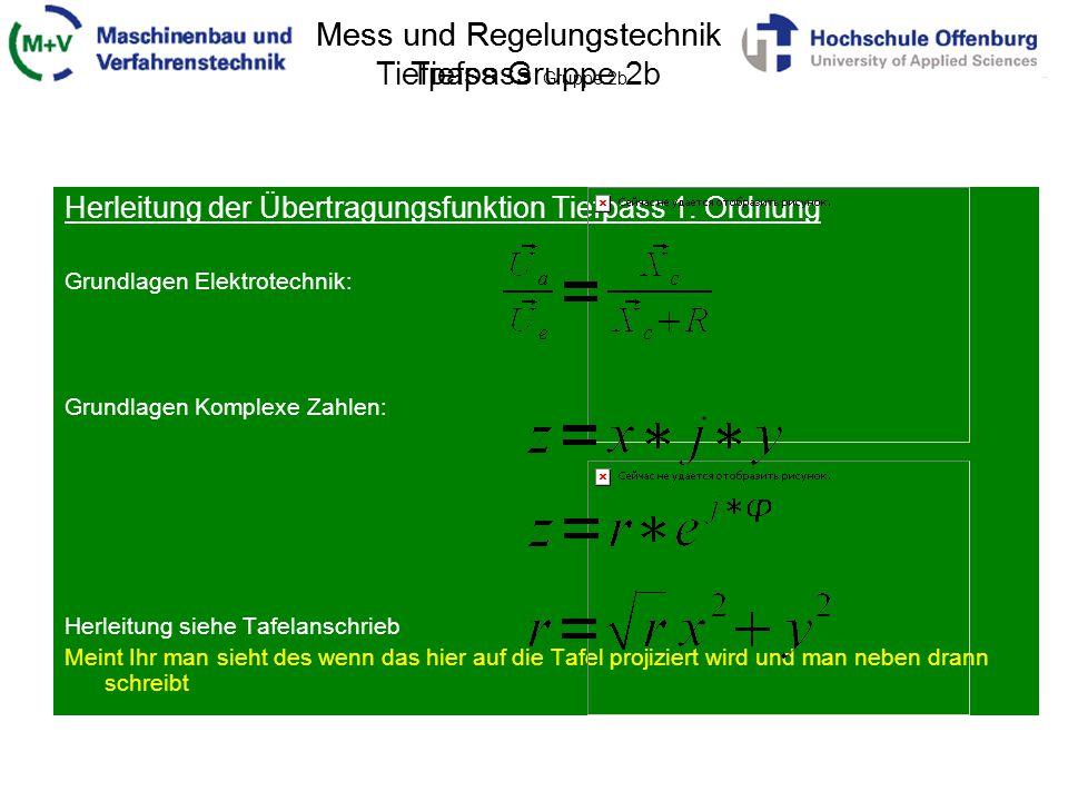 Mess und Regelungstechnik Tiefpass Gruppe 2b