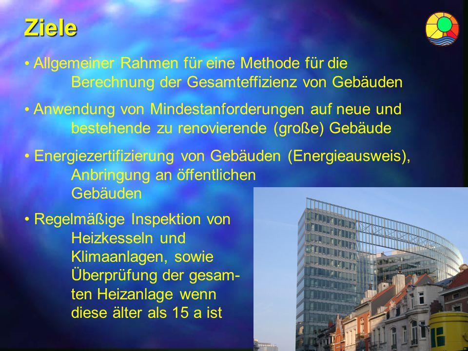 Ziele Allgemeiner Rahmen für eine Methode für die Berechnung der Gesamteffizienz von Gebäuden. Anwendung von Mindestanforderungen auf neue und.