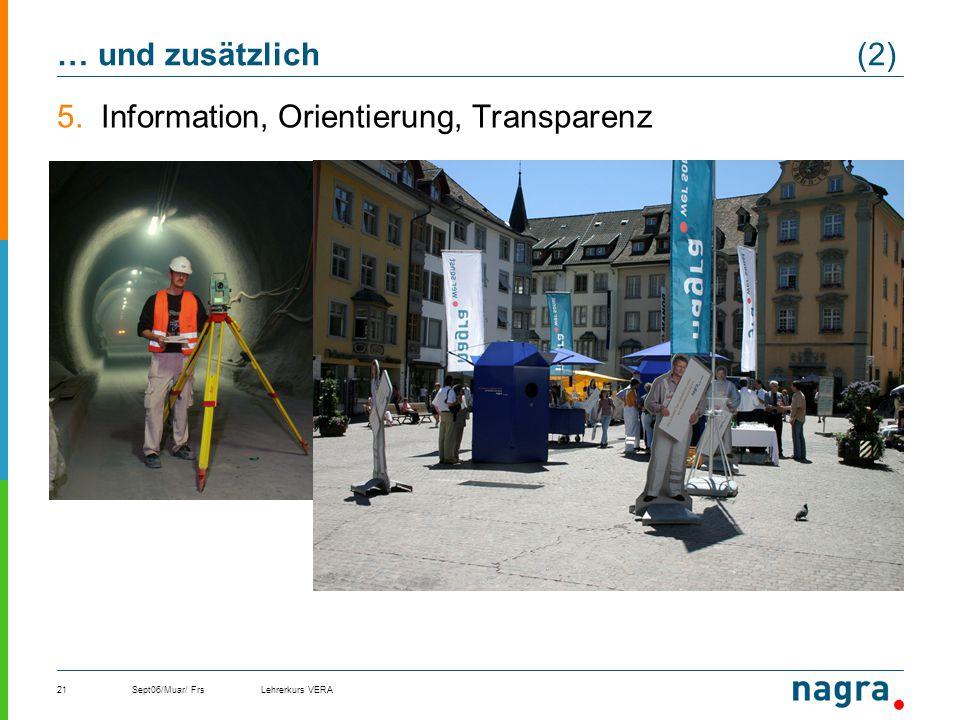 Information, Orientierung, Transparenz