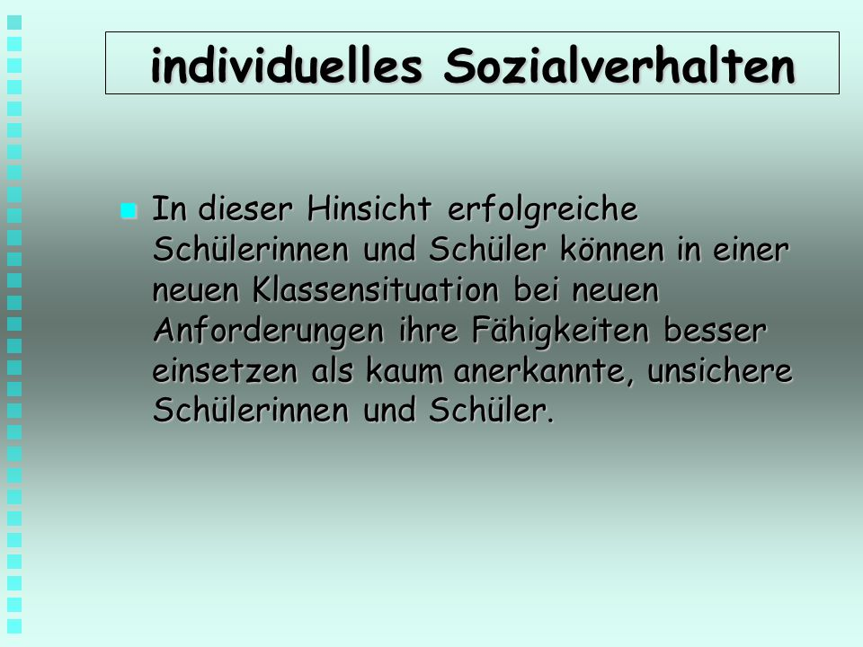 individuelles Sozialverhalten