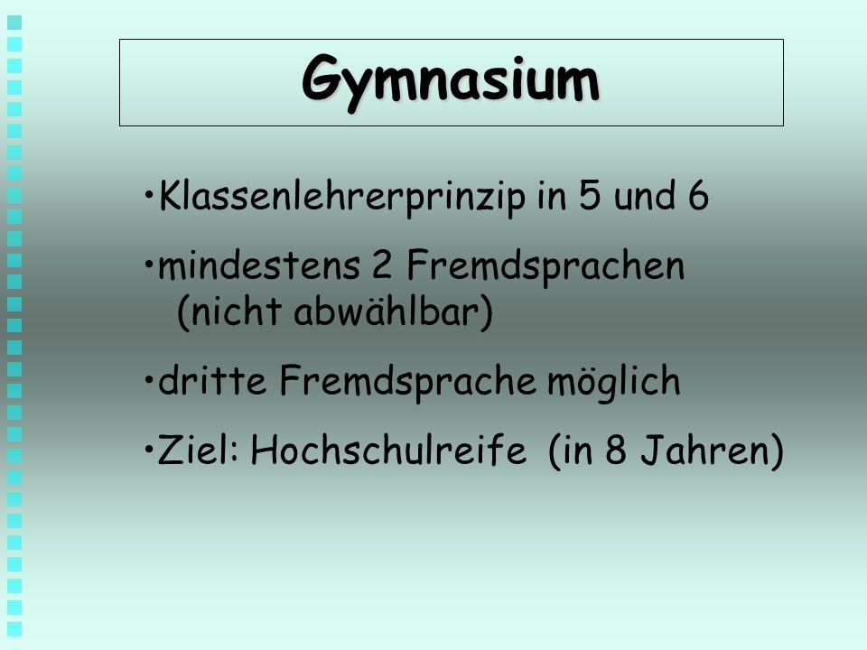 Gymnasium Klassenlehrerprinzip in 5 und 6