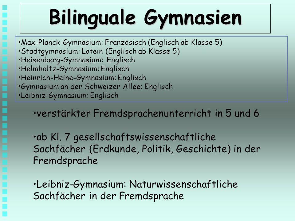 Bilinguale Gymnasien verstärkter Fremdsprachenunterricht in 5 und 6