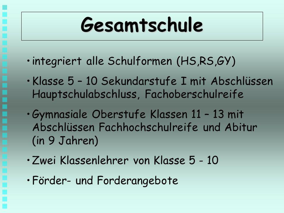 Gesamtschule integriert alle Schulformen (HS,RS,GY)