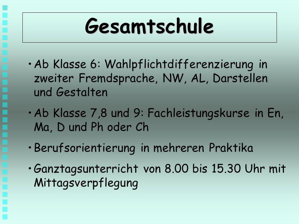 Gesamtschule Ab Klasse 6: Wahlpflichtdifferenzierung in zweiter Fremdsprache, NW, AL, Darstellen und Gestalten.