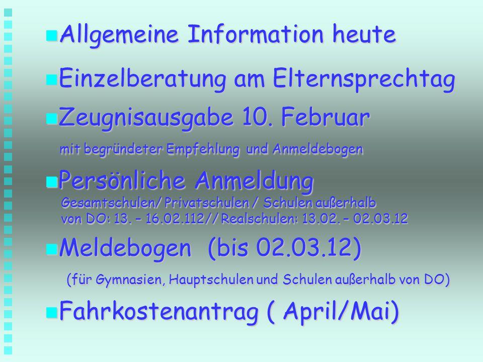 Allgemeine Information heute