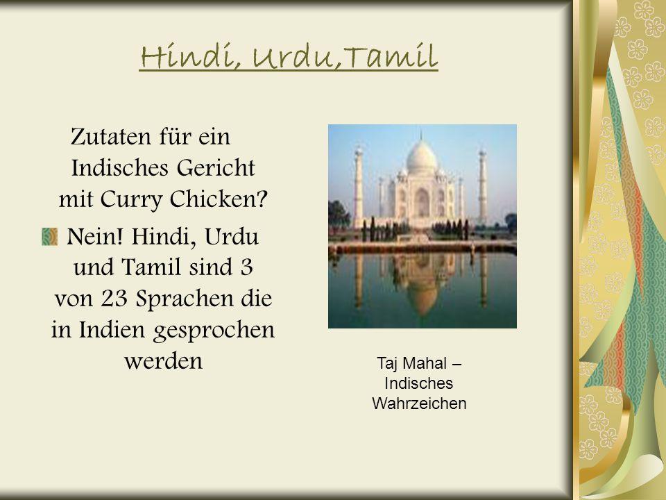 Hindi, Urdu,Tamil Zutaten für ein Indisches Gericht mit Curry Chicken