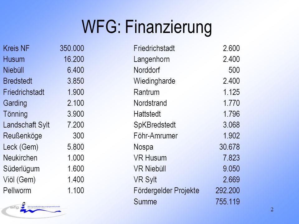 WFG: Finanzierung Kreis NF 350.000 Friedrichstadt 2.600