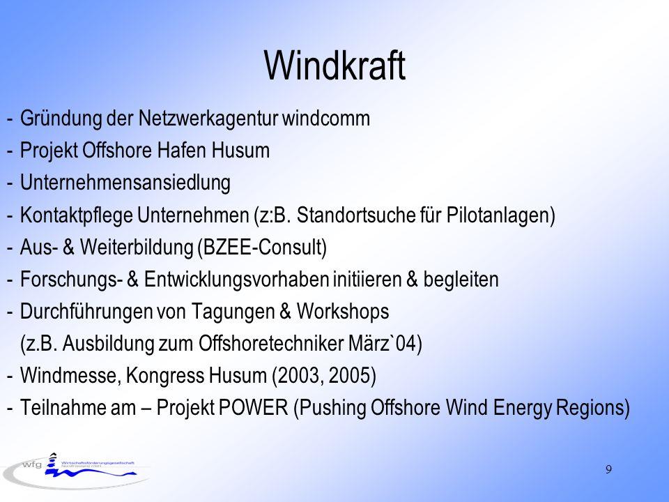 Windkraft Gründung der Netzwerkagentur windcomm