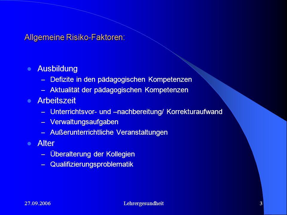 Allgemeine Risiko-Faktoren: