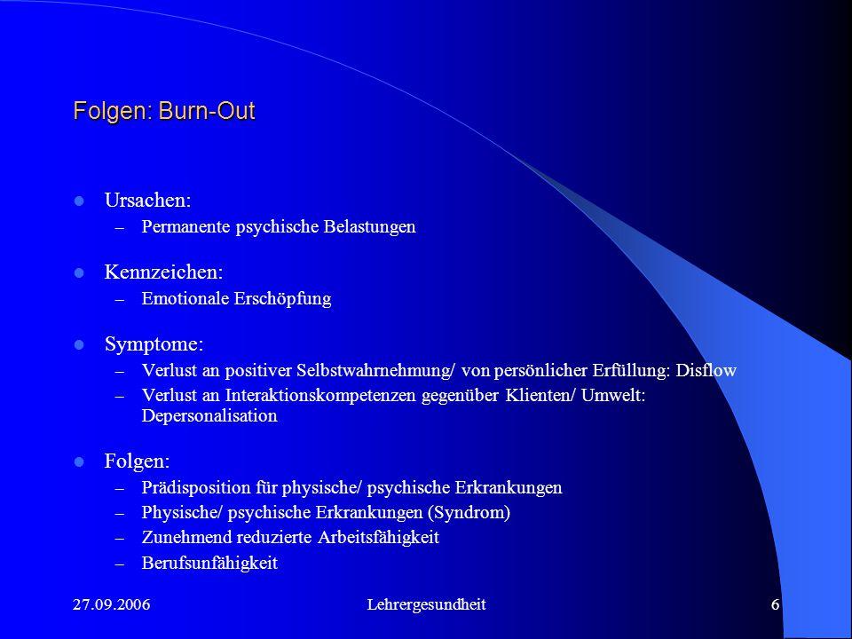 Folgen: Burn-Out Ursachen: Kennzeichen: Symptome: Folgen: