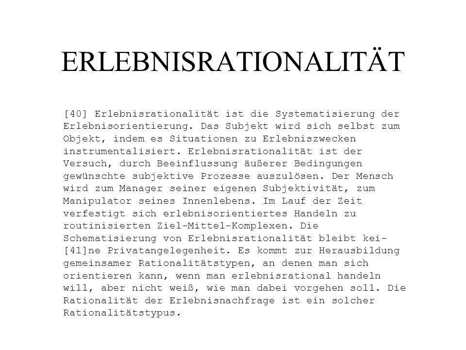 ERLEBNISRATIONALITÄT