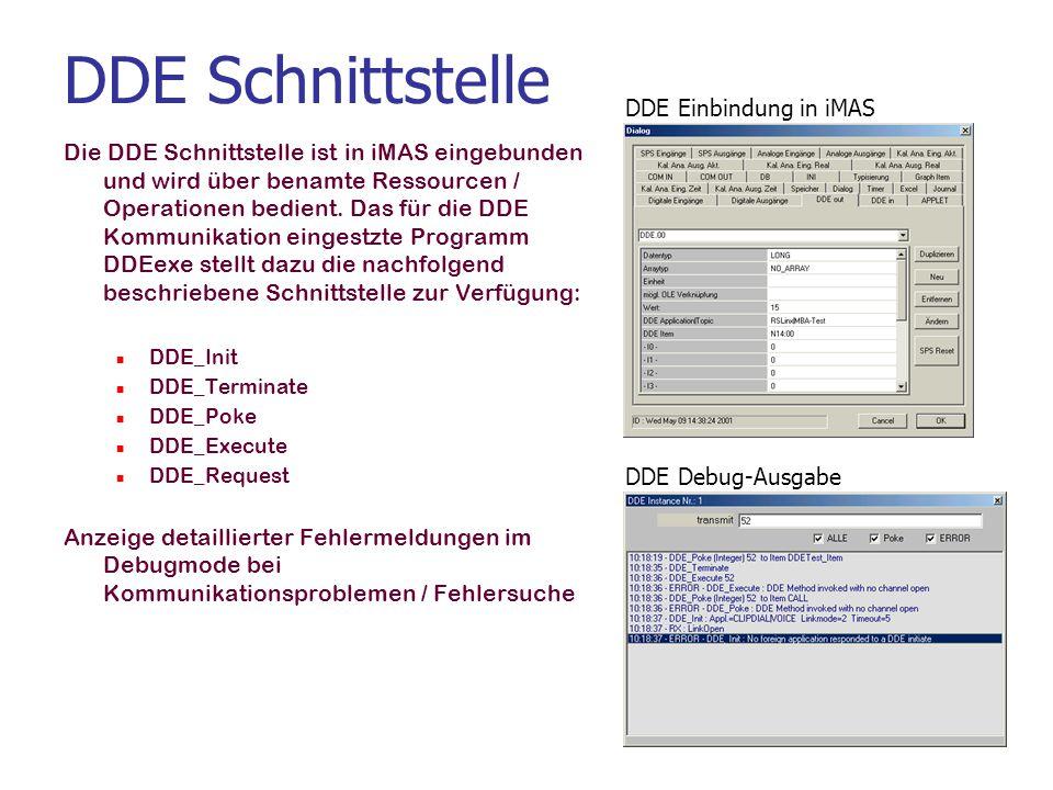DDE Schnittstelle DDE Einbindung in iMAS