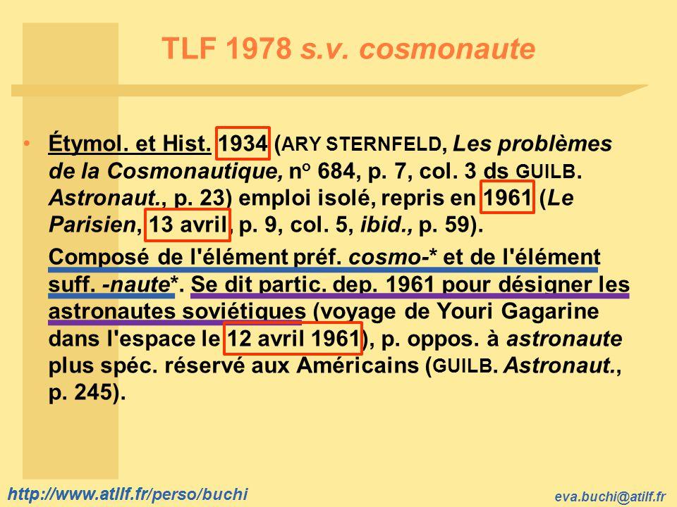 TLF 1978 s.v. cosmonaute