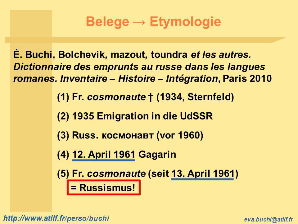 Belege → Etymologie