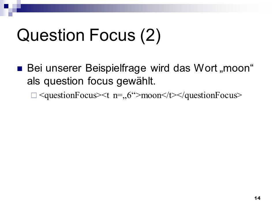 """Question Focus (2) Bei unserer Beispielfrage wird das Wort """"moon als question focus gewählt."""