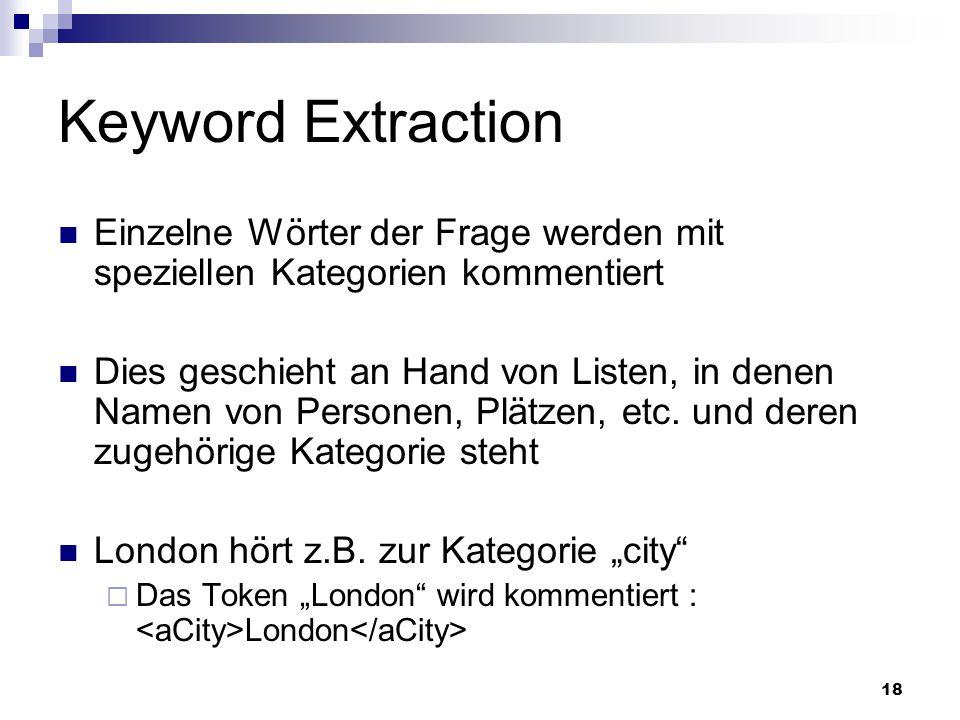 Keyword Extraction Einzelne Wörter der Frage werden mit speziellen Kategorien kommentiert.