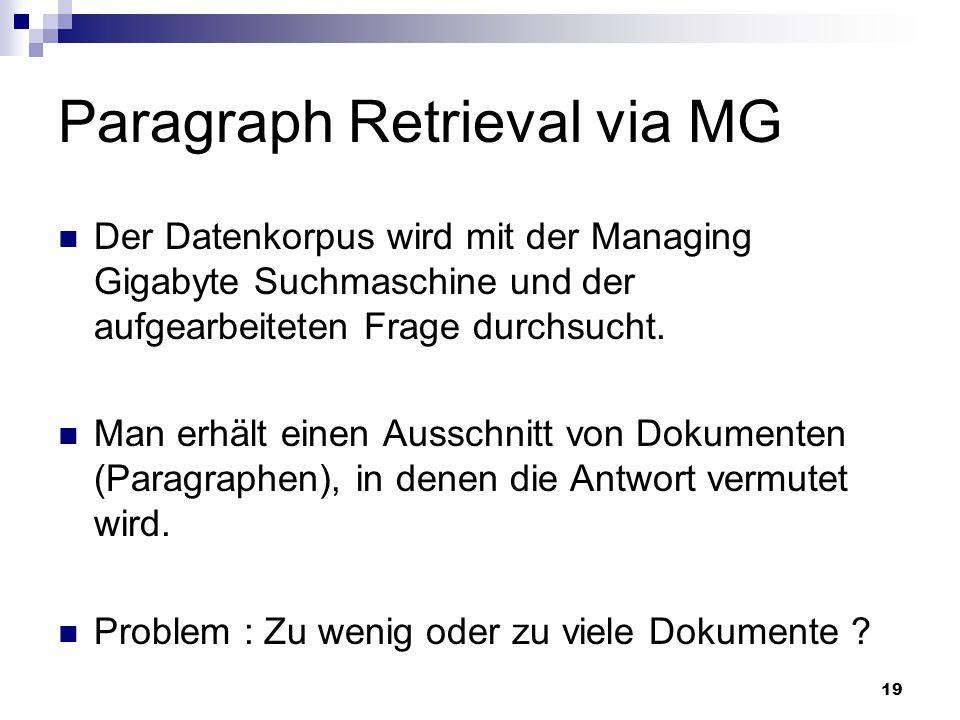 Paragraph Retrieval via MG