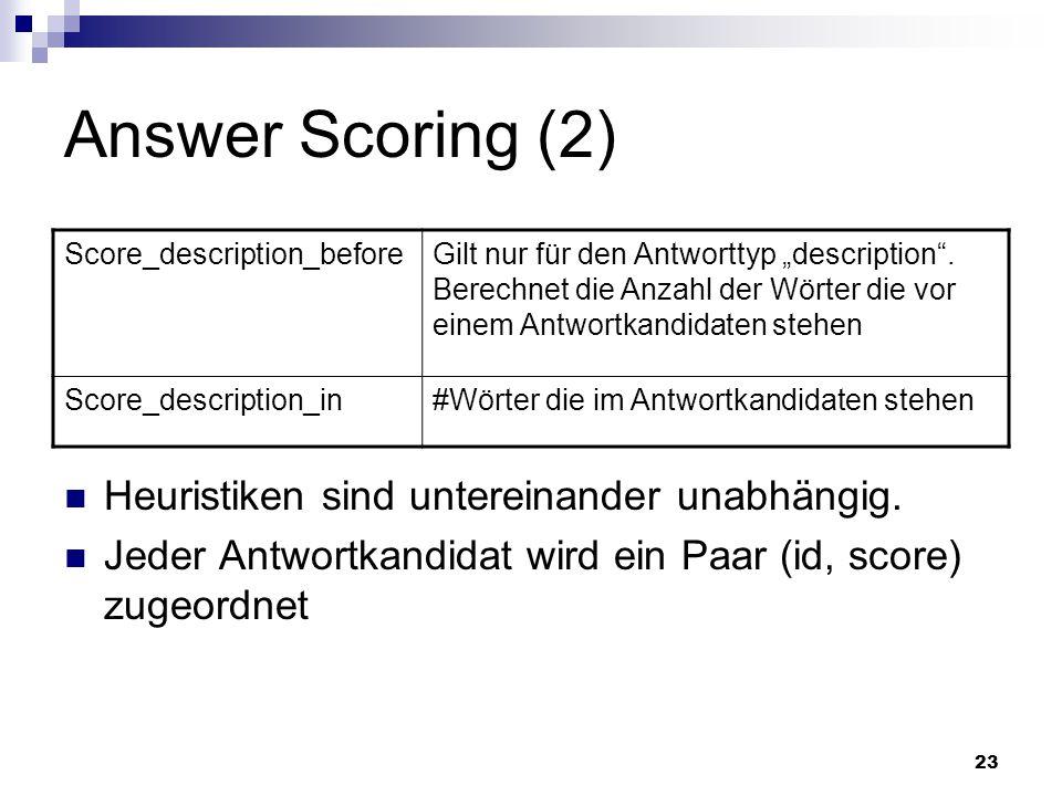 Answer Scoring (2) Heuristiken sind untereinander unabhängig.